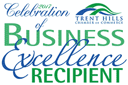 2017 Celebration of Business Excellence Award Winner from the Trent Hills Chamber of Commerce