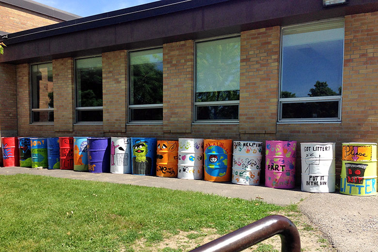 Hand Painted Garbage Cans in Hastings, Ontario